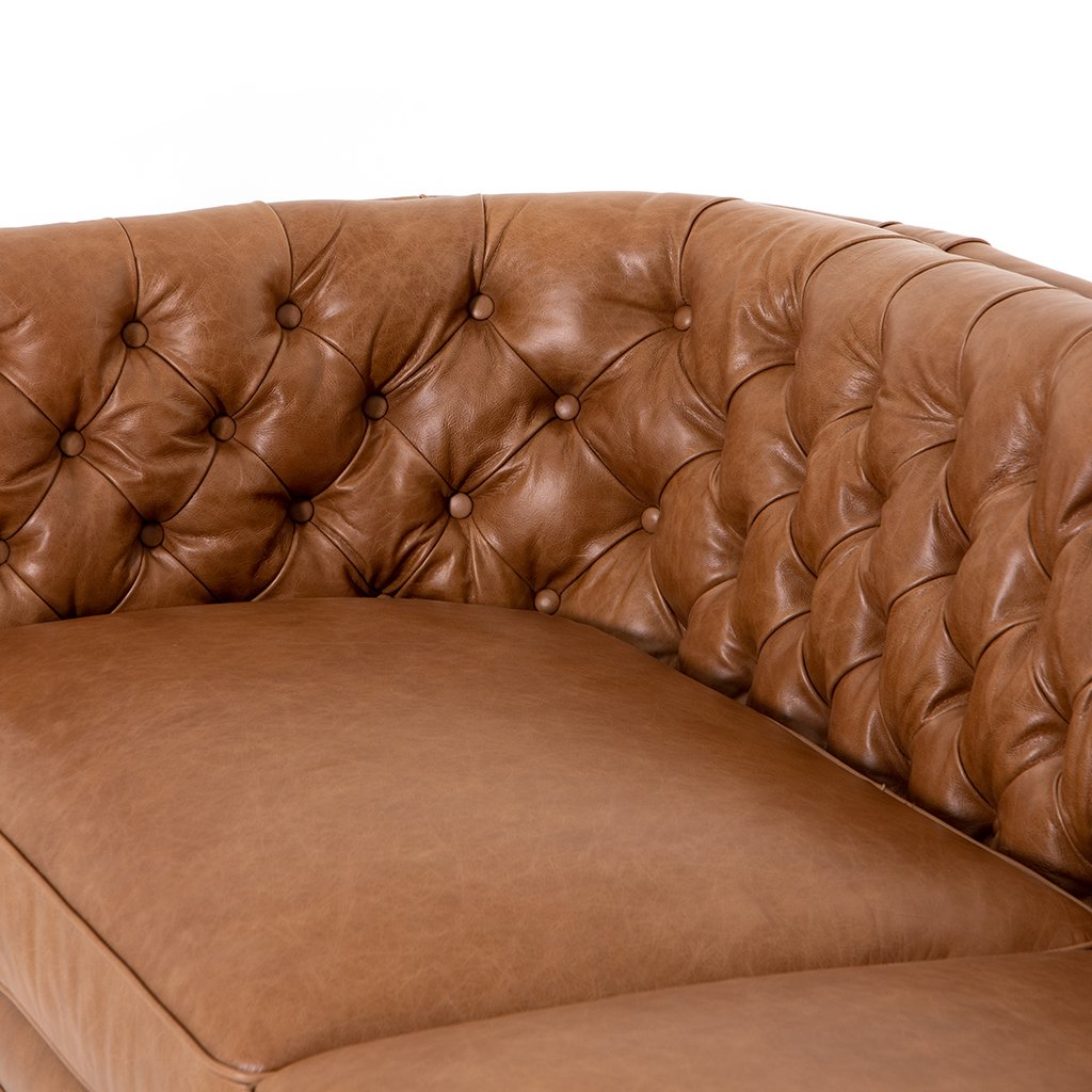 Tufting Detail Belair Brown Tufted Leather Sofa - Sonoma Butterscotch