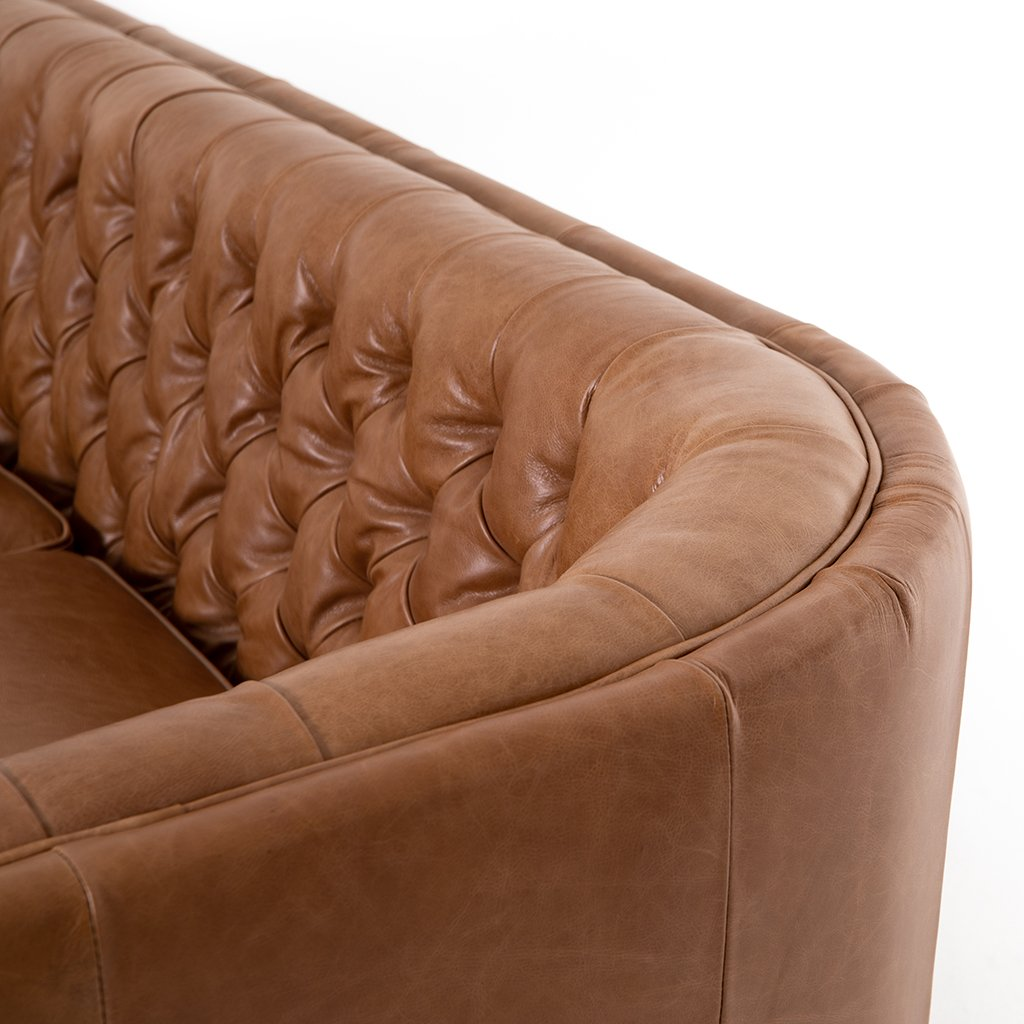 Back Corner Detail Belair Brown Tufted Leather Sofa - Sonoma Butterscotch