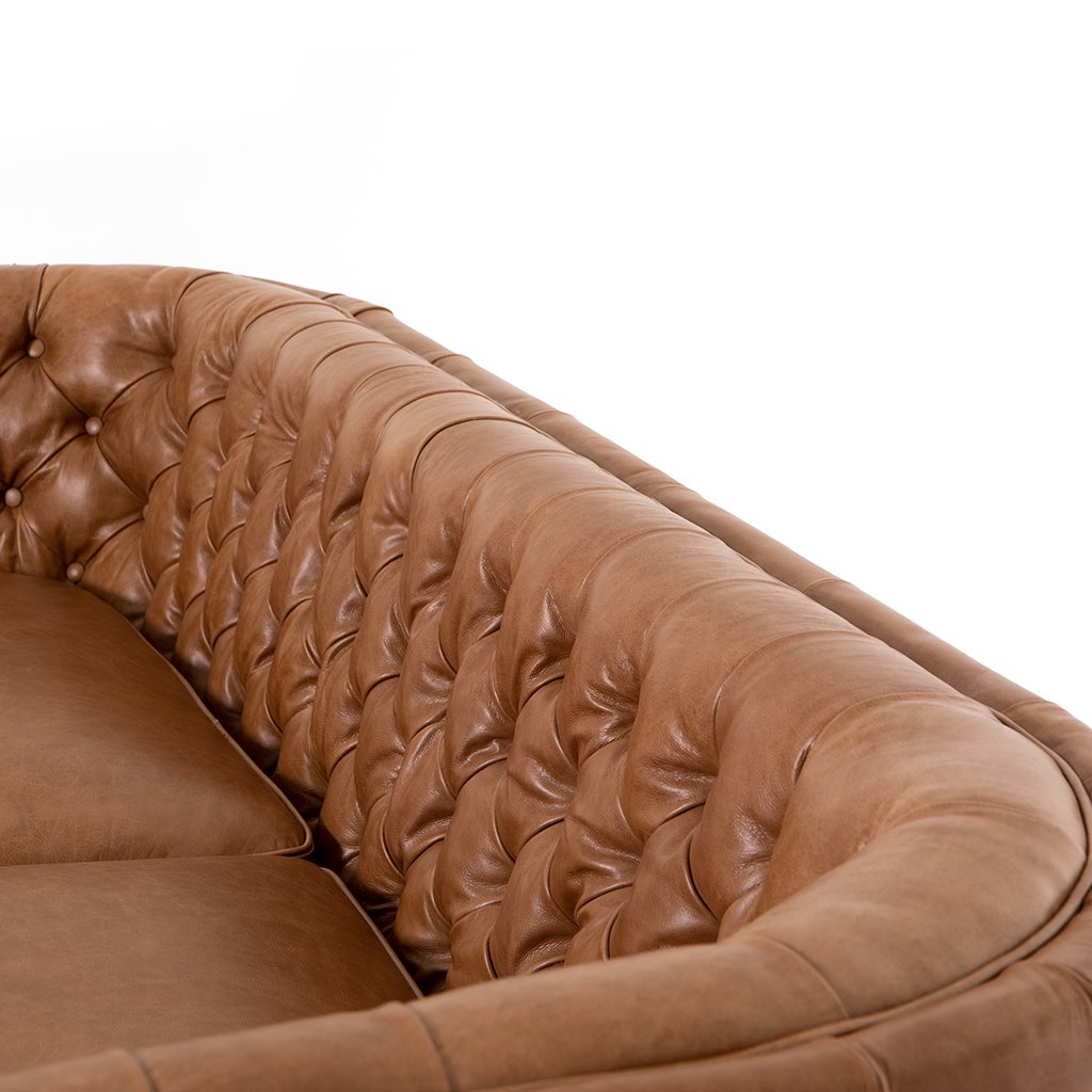 Back Detail Belair Brown Tufted Leather Sofa - Sonoma Butterscotch