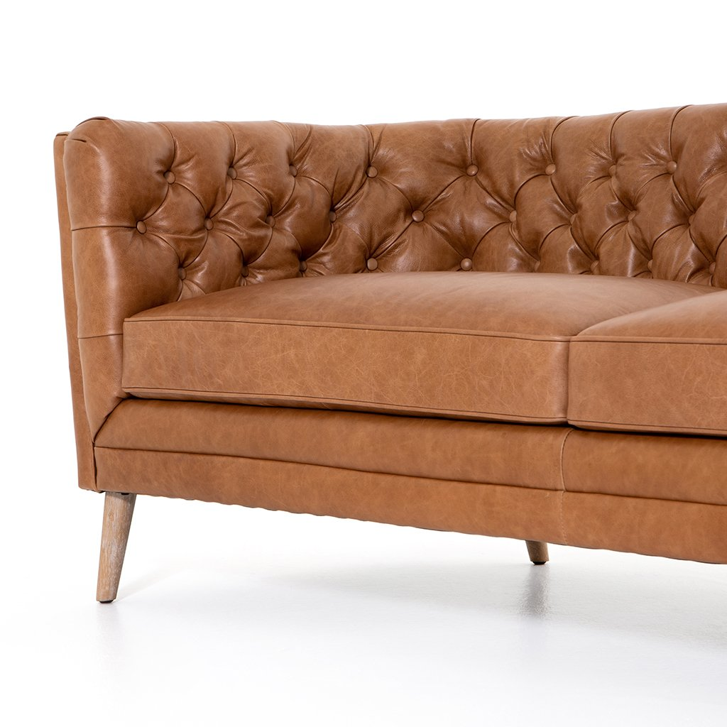 Front Detail Belair Brown Tufted Leather Sofa - Sonoma Butterscotch