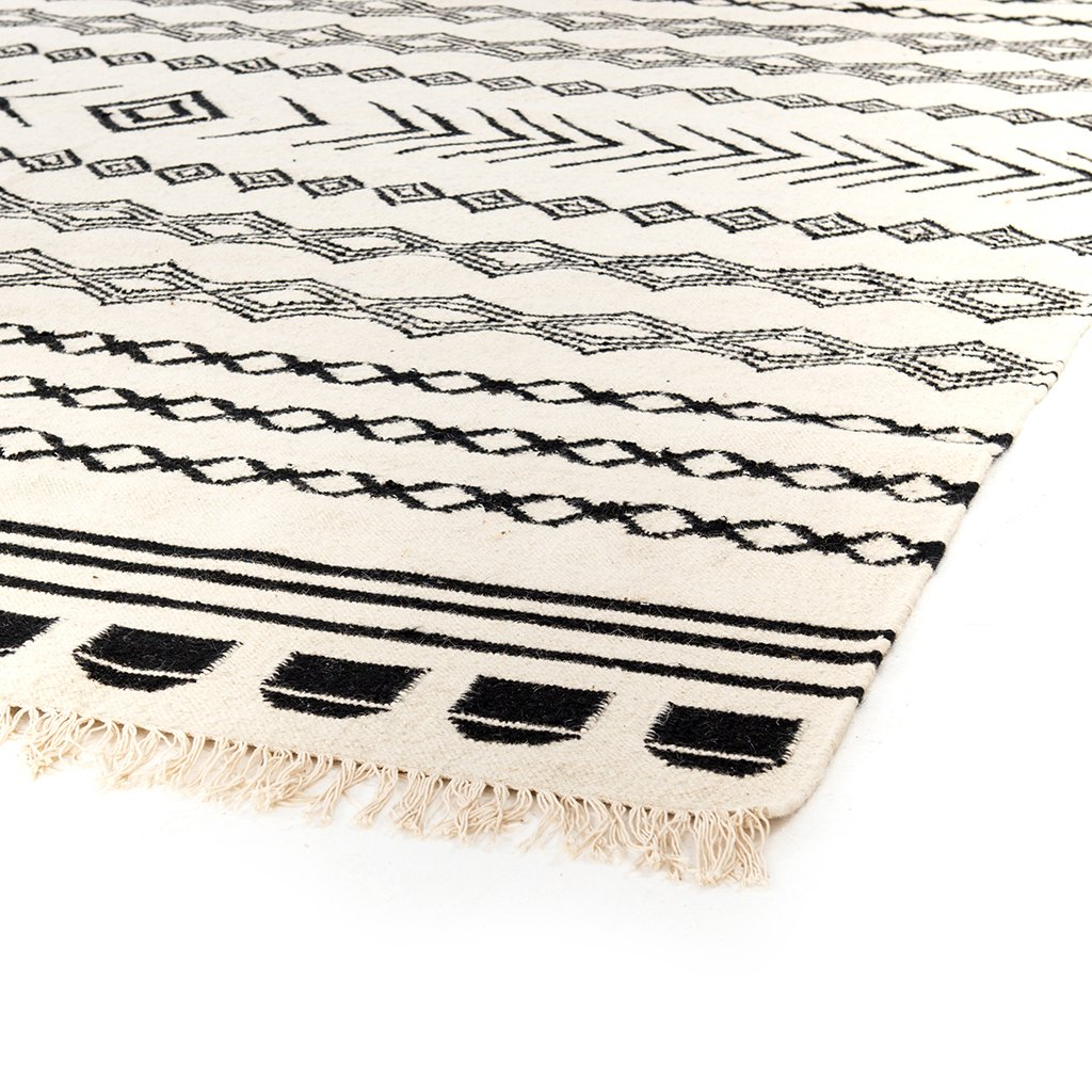 Black Patterned Stripe Rug - INOM-010-0912