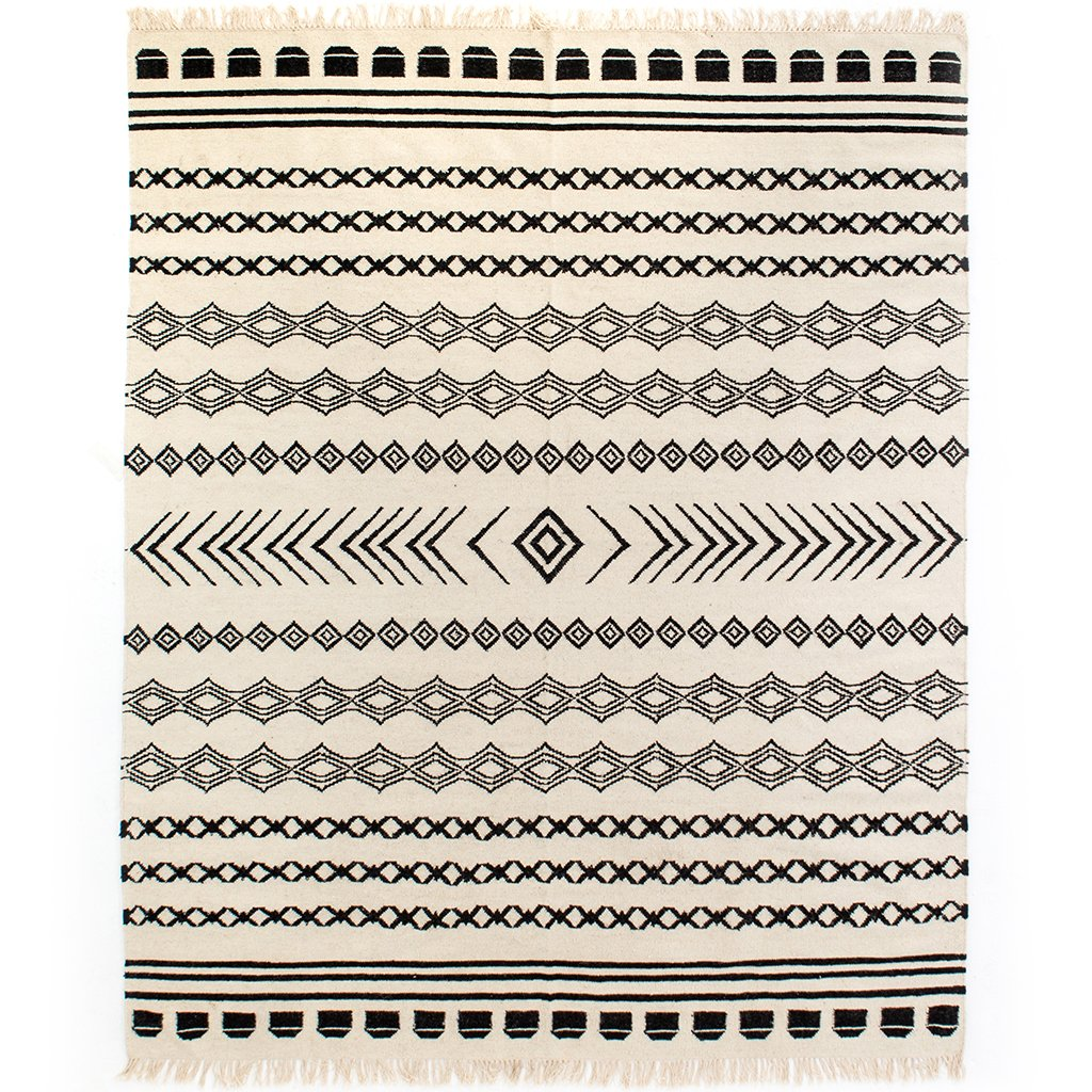 Black Patterned Stripe Rug - INOM-010-0810
