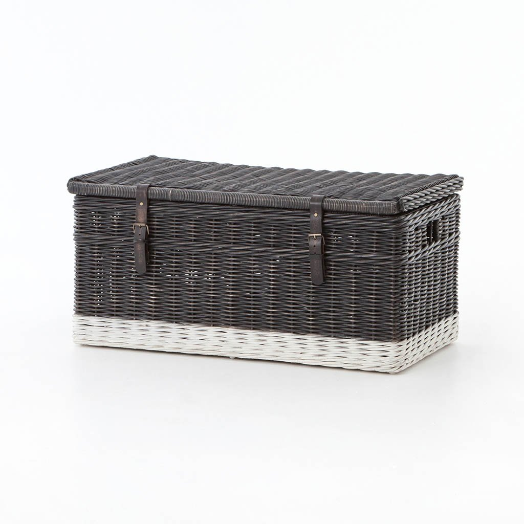 Black Washed Wicker Trunk