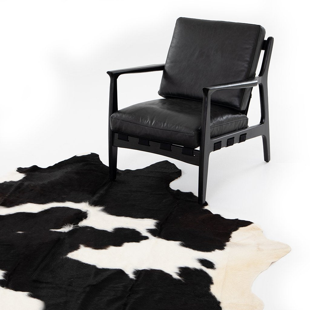 Black and White Cowhide Rug Four hands
