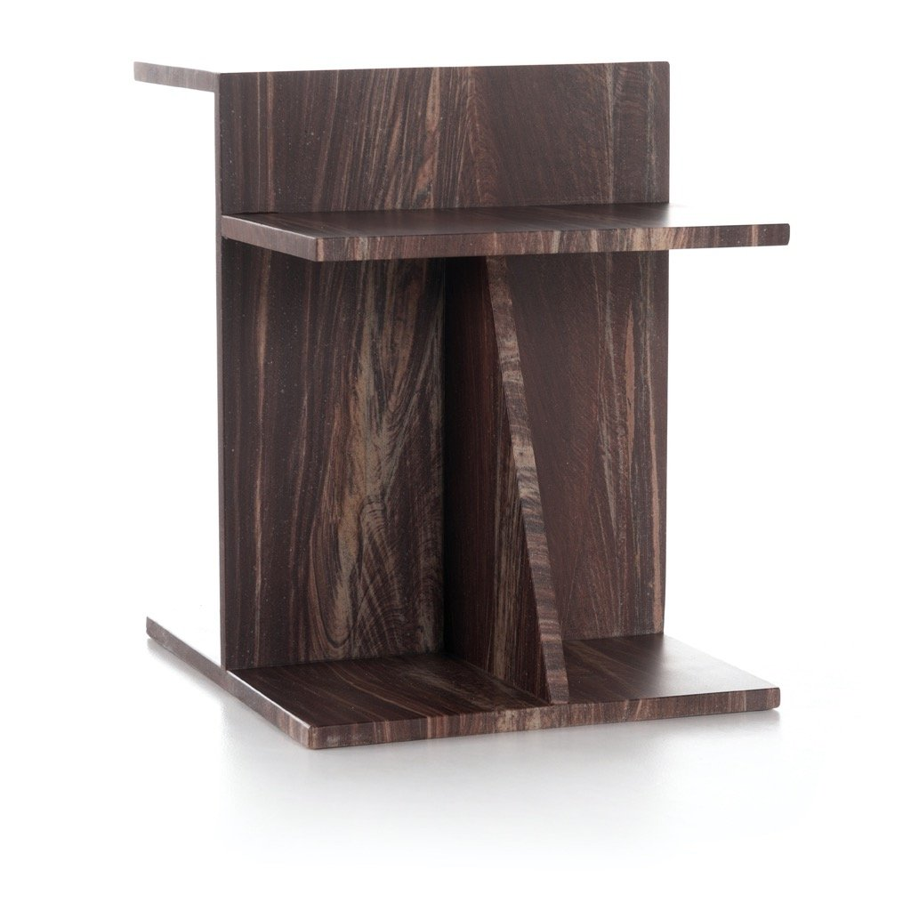 Blas End Table - Tumbled Rust angle view
