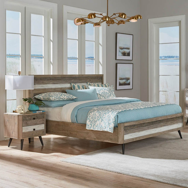 distressed wood boardwalk bed
