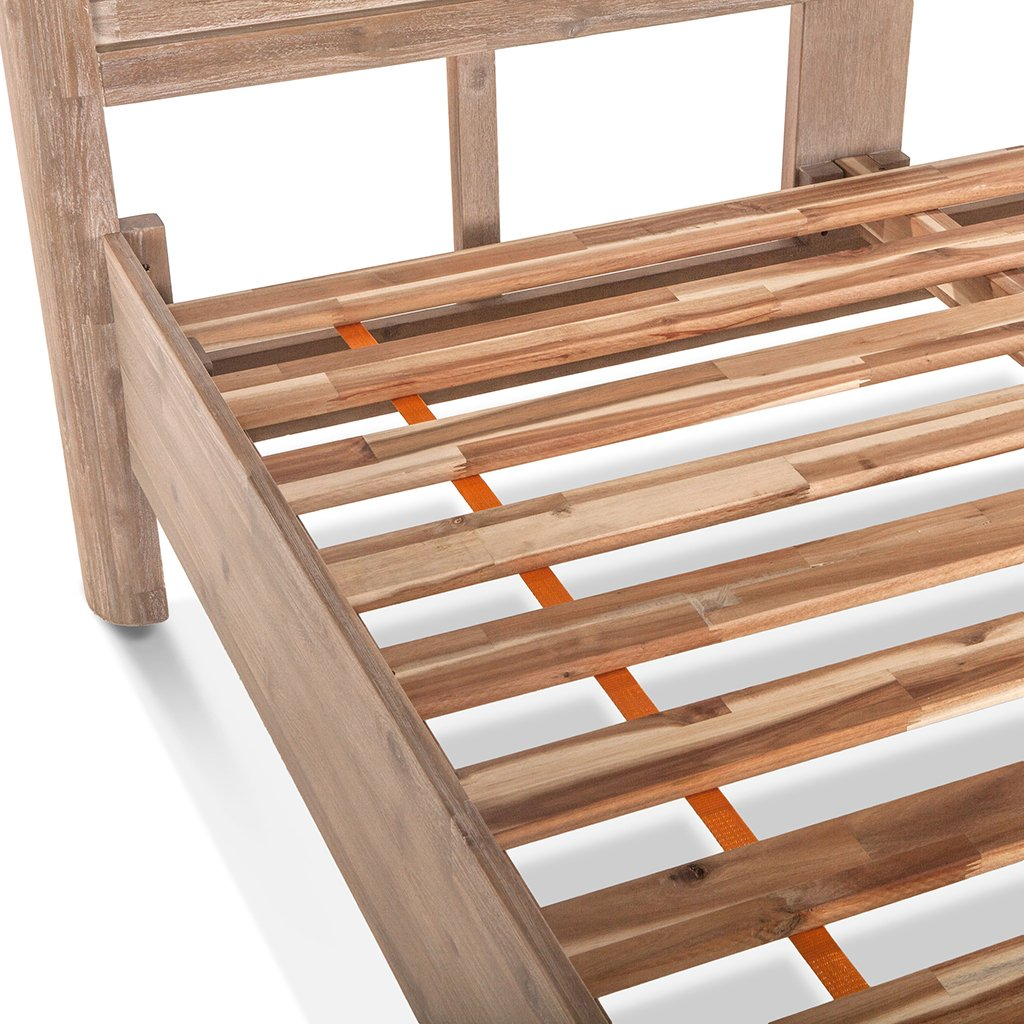 boardwalk bed distressed wood