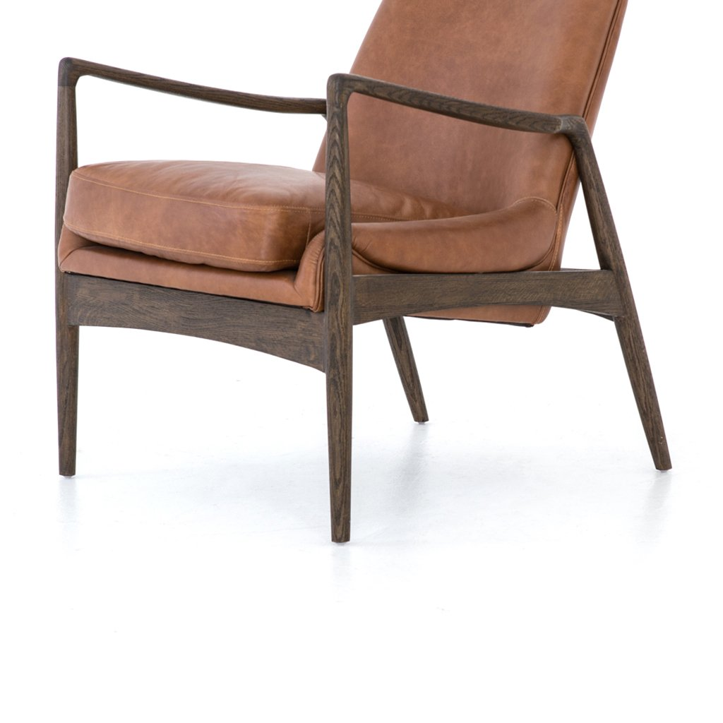 Modern brown leather accent chair