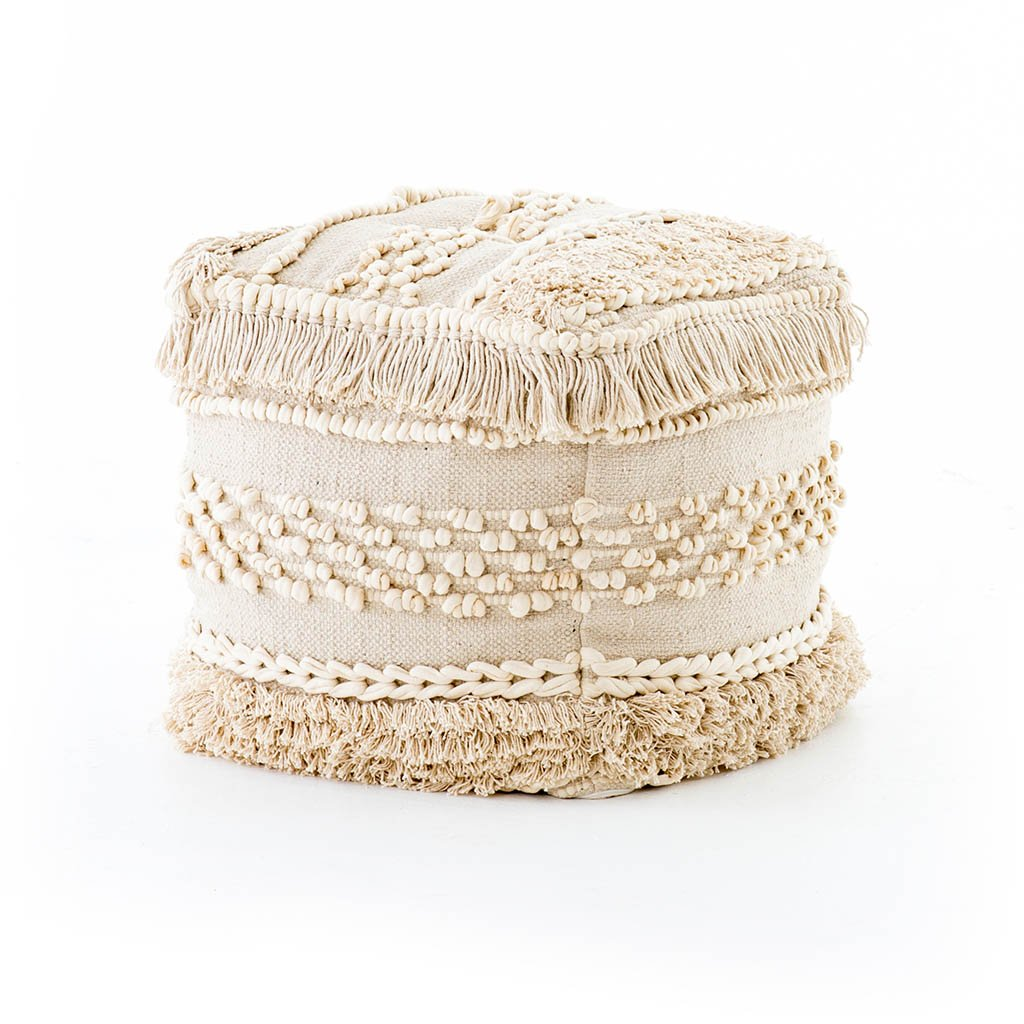 white accent pouf