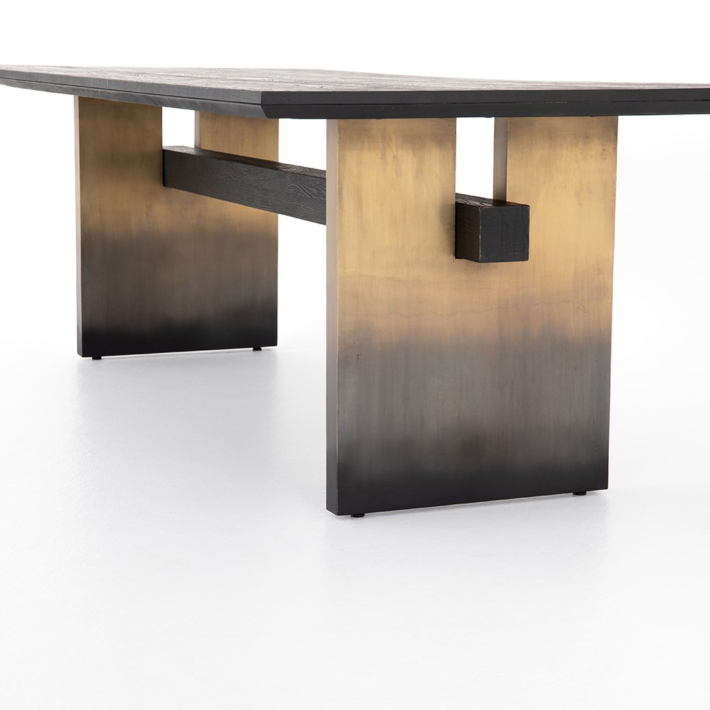 Brennan Black Oak Dining Table Ombre Base View