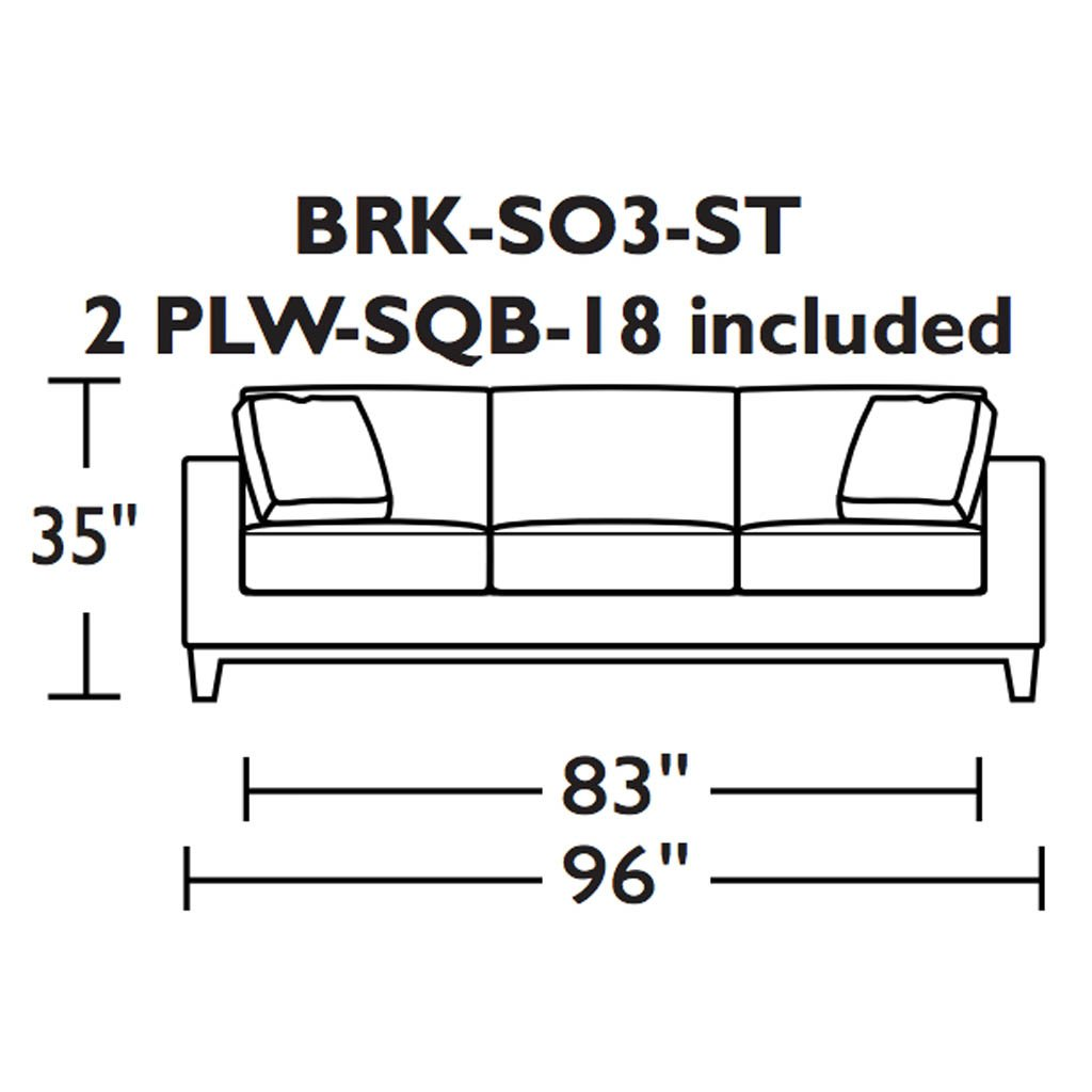 American Leather Brooke Three Seat sofa dimensions