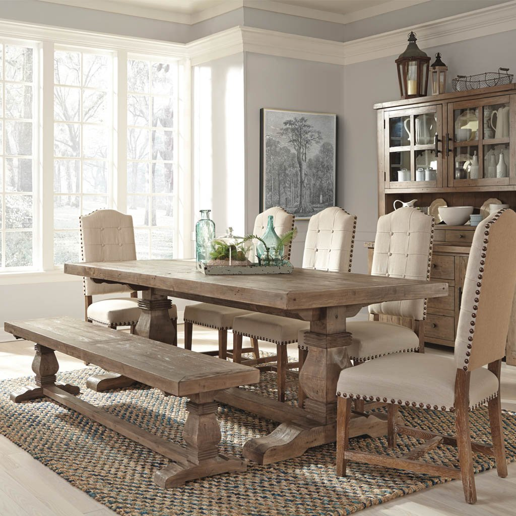 Caleb Dining Table Rustic Pine Wood