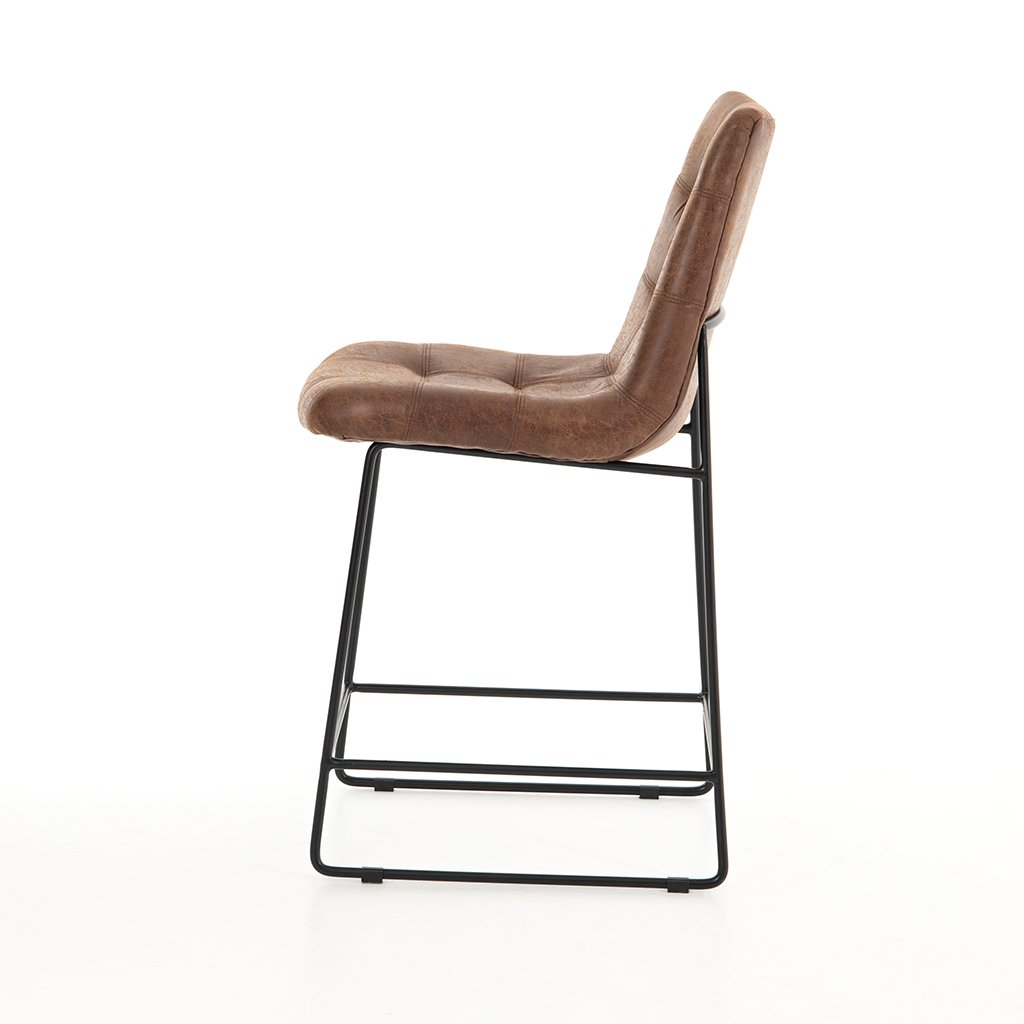 Modern brown leather stool