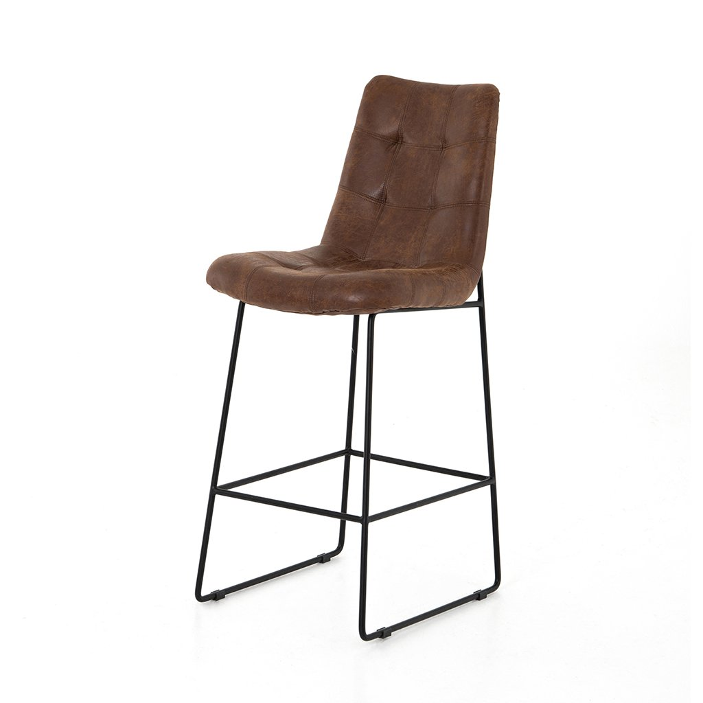 Camile Brown Leather Stool