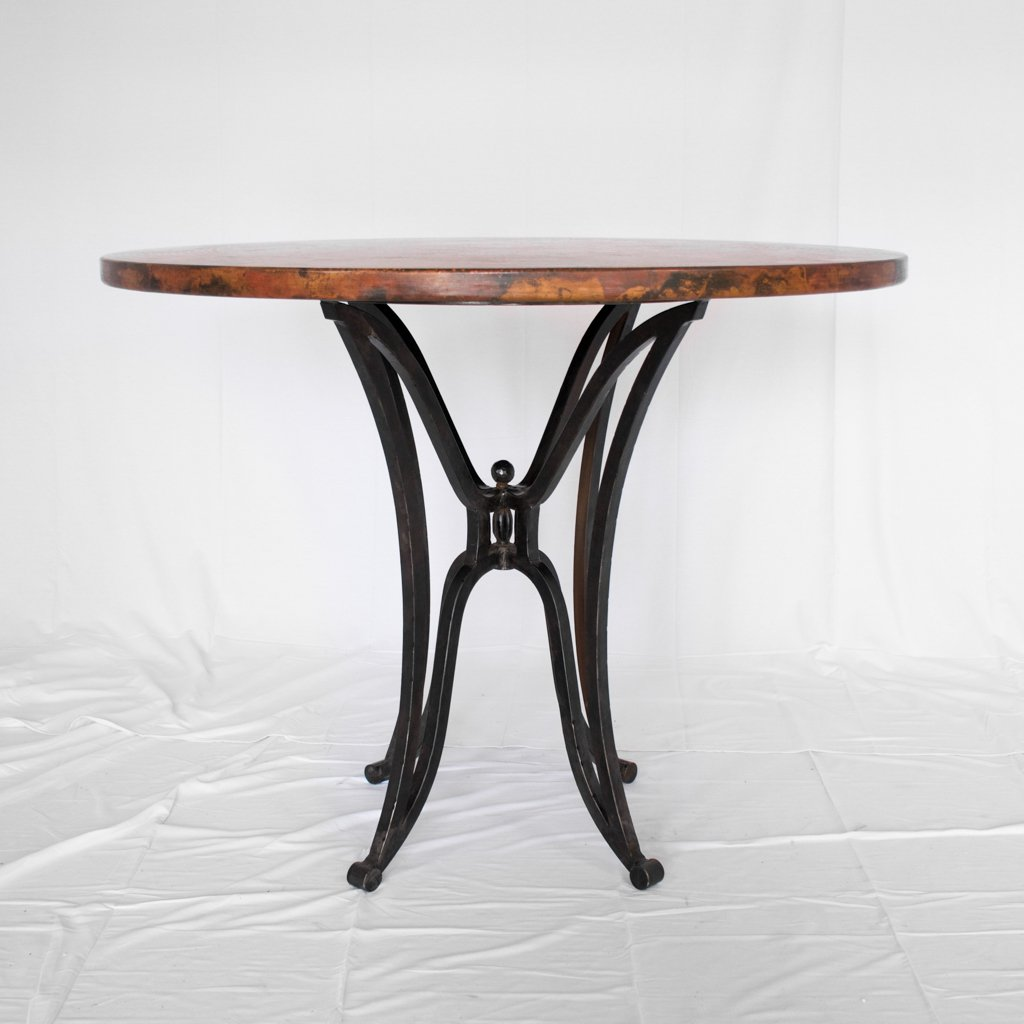 Copper and iron dining table counter height