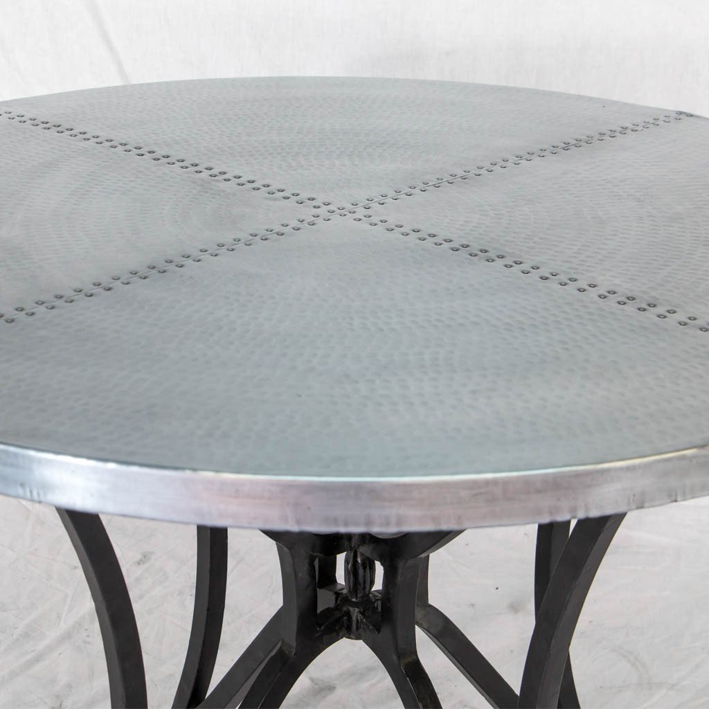 Kenya Iron dining table with zinc metal top