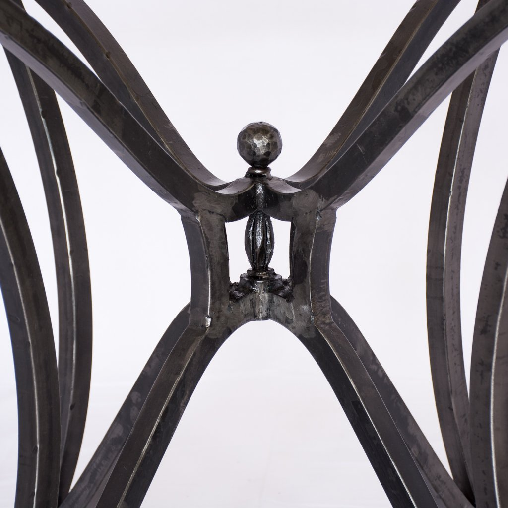 iron dining table base with zinc top