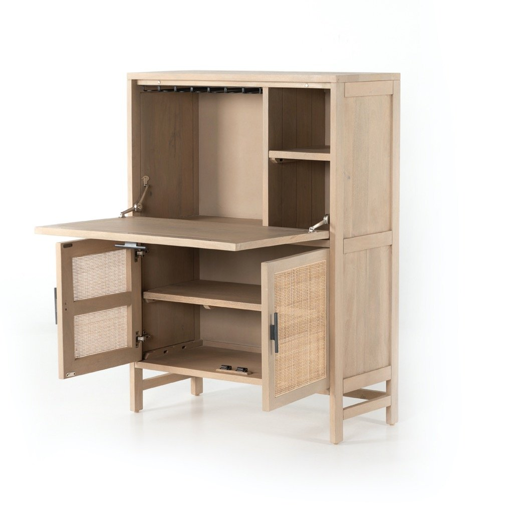 Caprice Bar Cabinet Open Drawers
