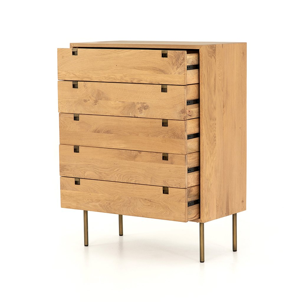 Carlisle 5 Drawer Oak Dresser Four Hands IFAL-029 Drawers Open