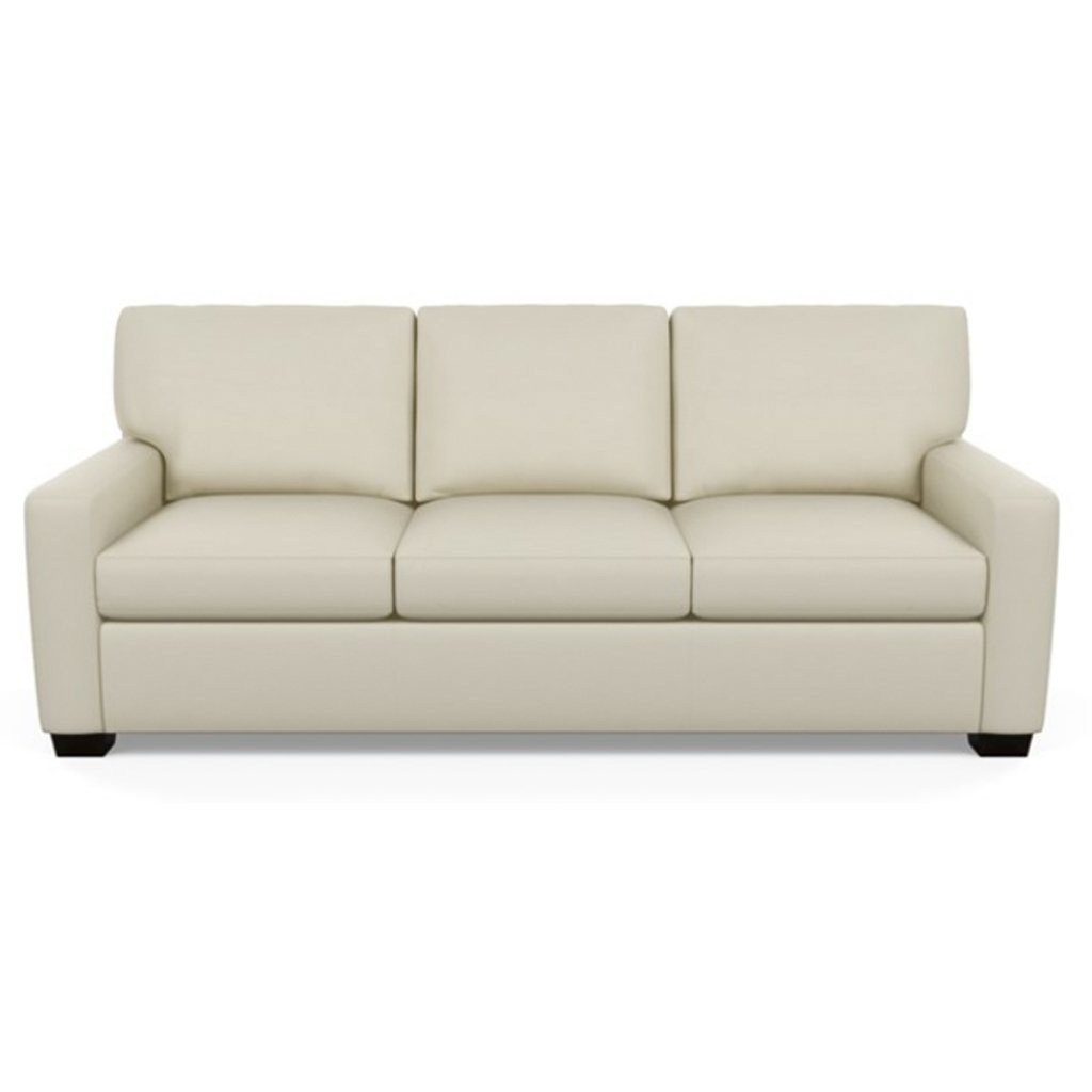Carson Three Seat Leather Sofa by American Leather in Bali Cream