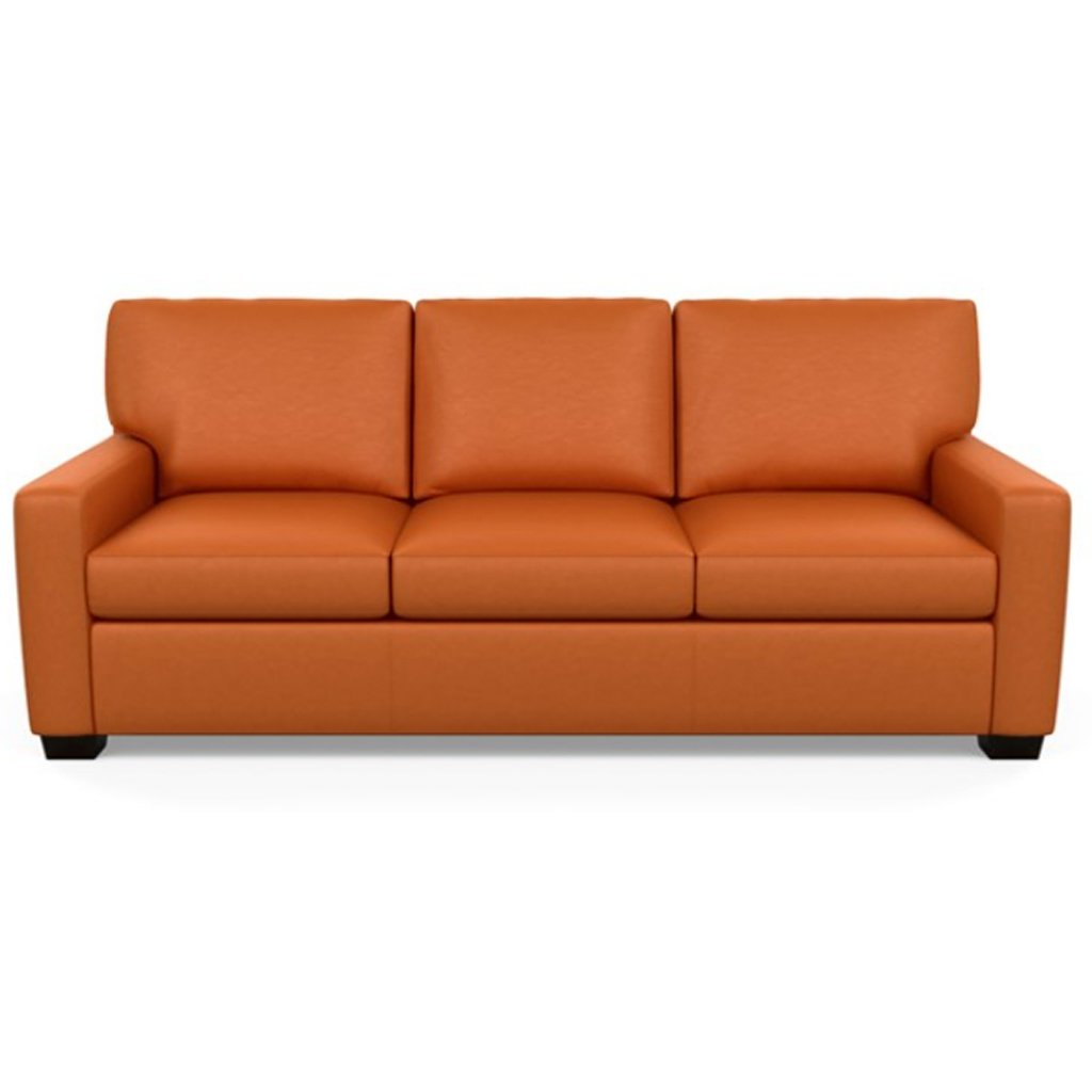 Carson Three Seat Leather Sofa by American Leather in Bali Marigold