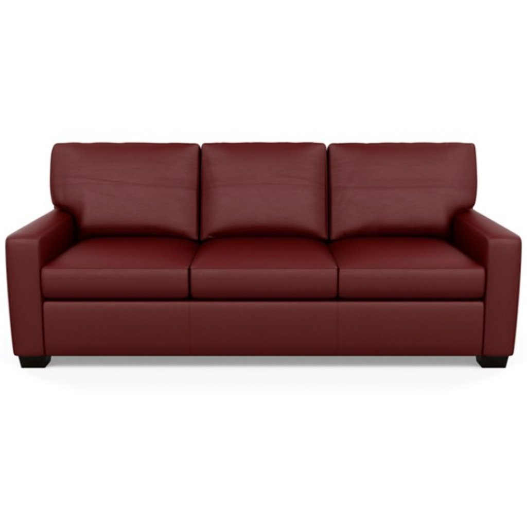 Carson Three Seat Leather Sofa by American Leather in Bali Red Hibiscus