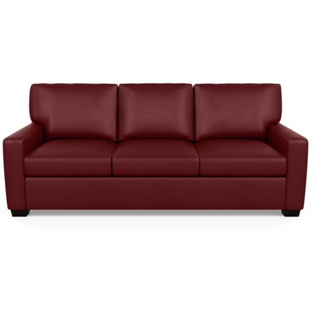 Carson Three Seat Leather Sofa by American Leather in Capri Poppy