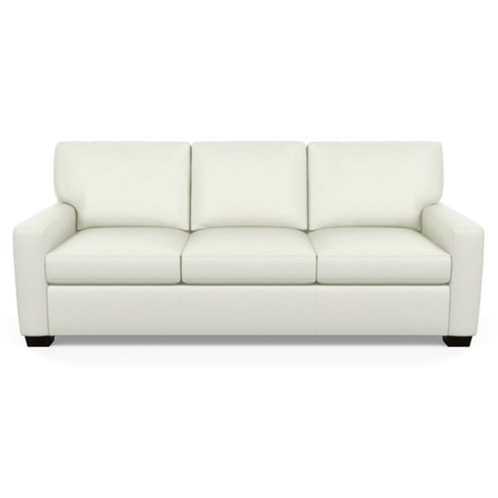 Carson Three Seat Leather Sofa by American Leather in Capri White