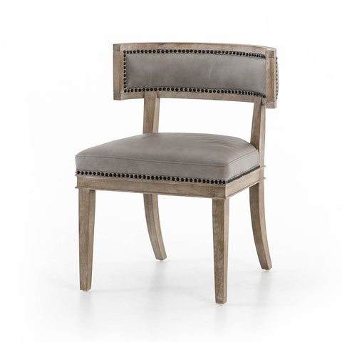 Carter Dining Chair - Light Grey Leather