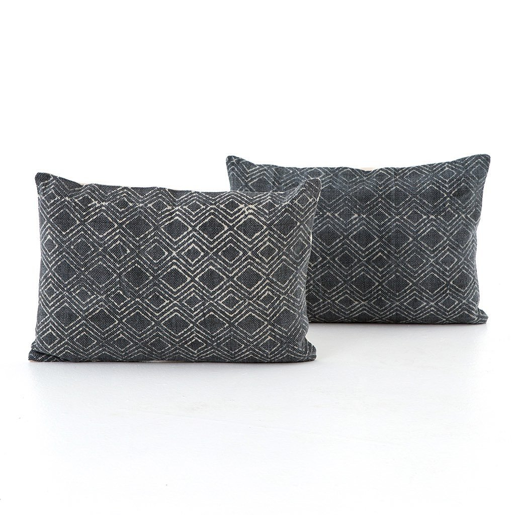 Charcoal Diamond Print Lumbar Pillow - Set of 2 Four Hands IWIL-029