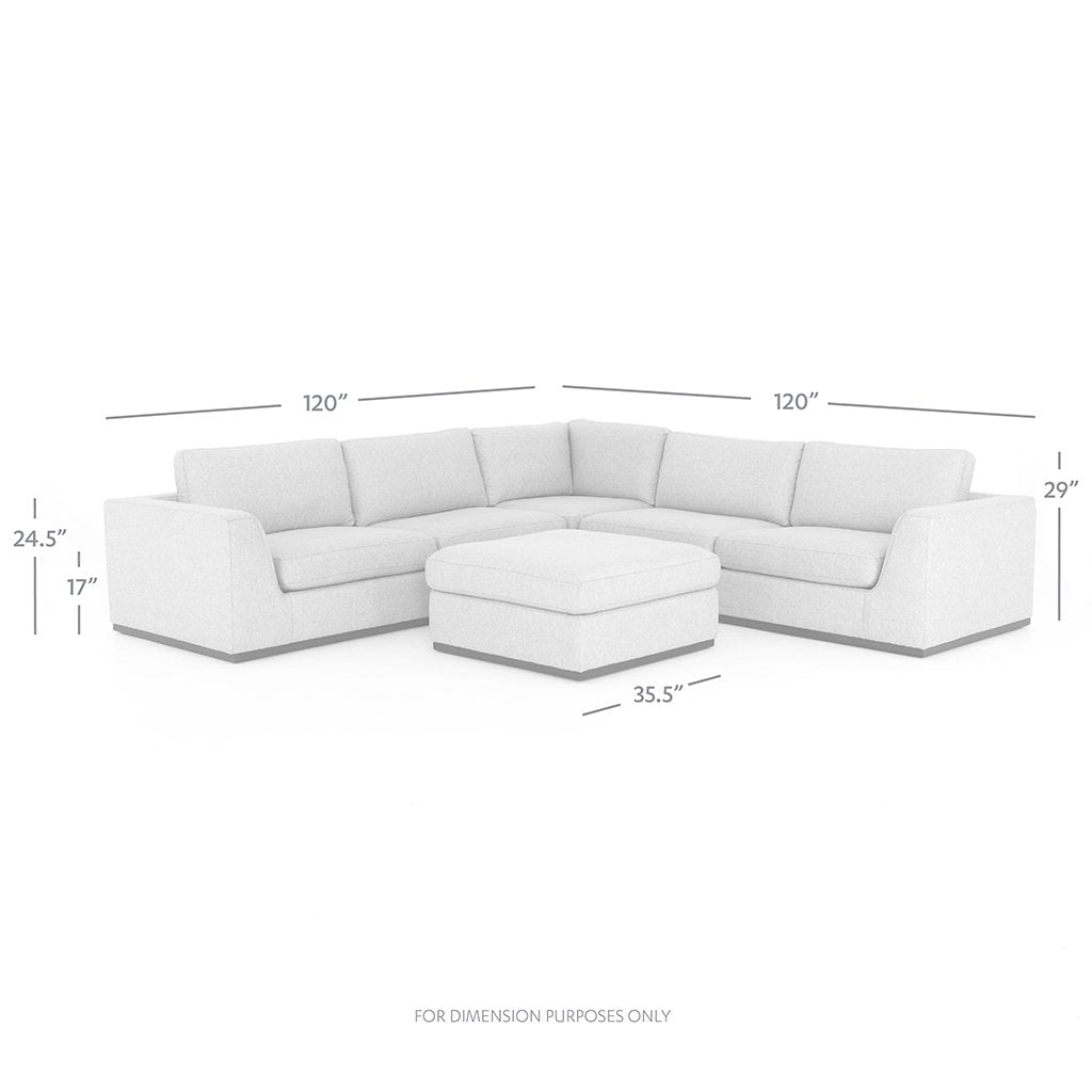 Ottoman and Dimensions Detail Colt Sectional Sofa - Aldred Silver