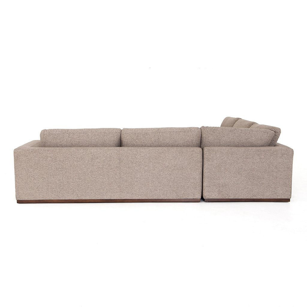 Colt Fabric Sectional Sofa - Gaston Pewter Back View
