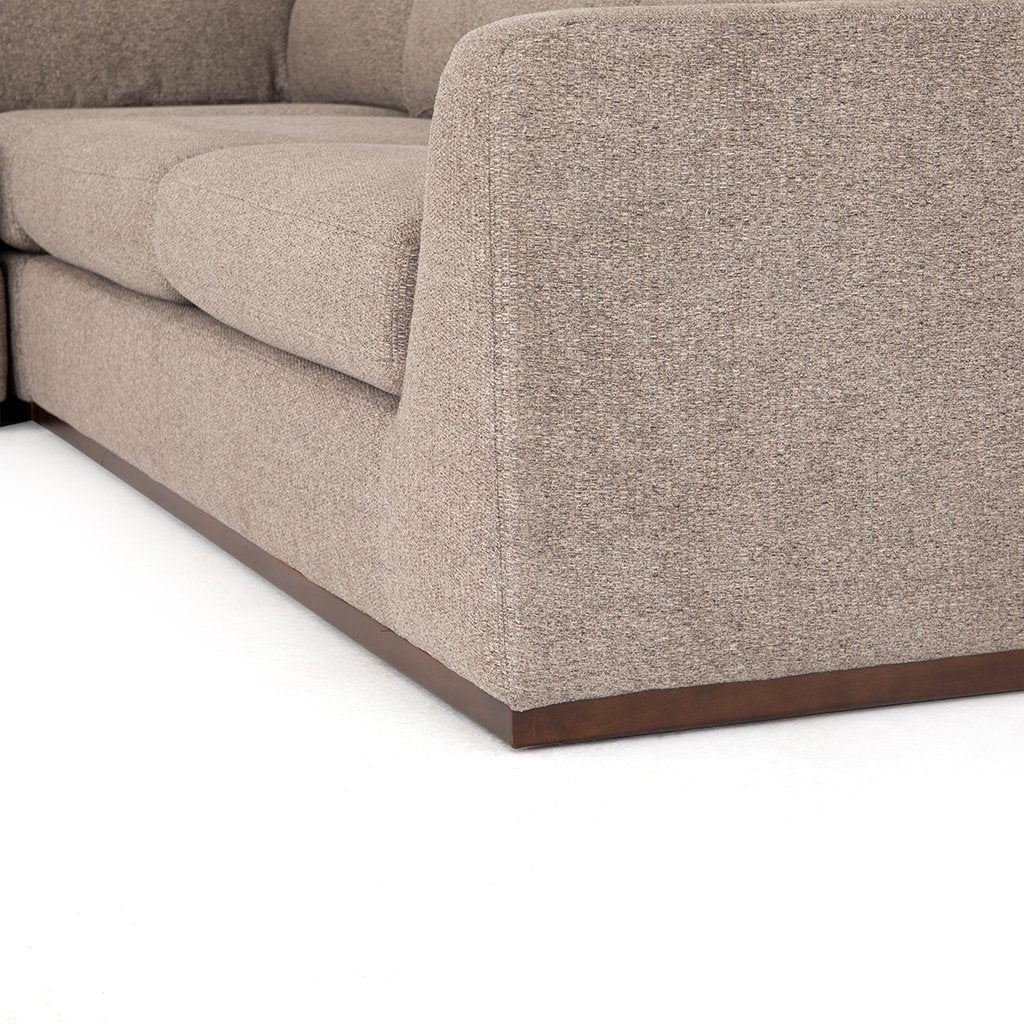 Colt Fabric Sectional Sofa - Gaston Pewter Leg View