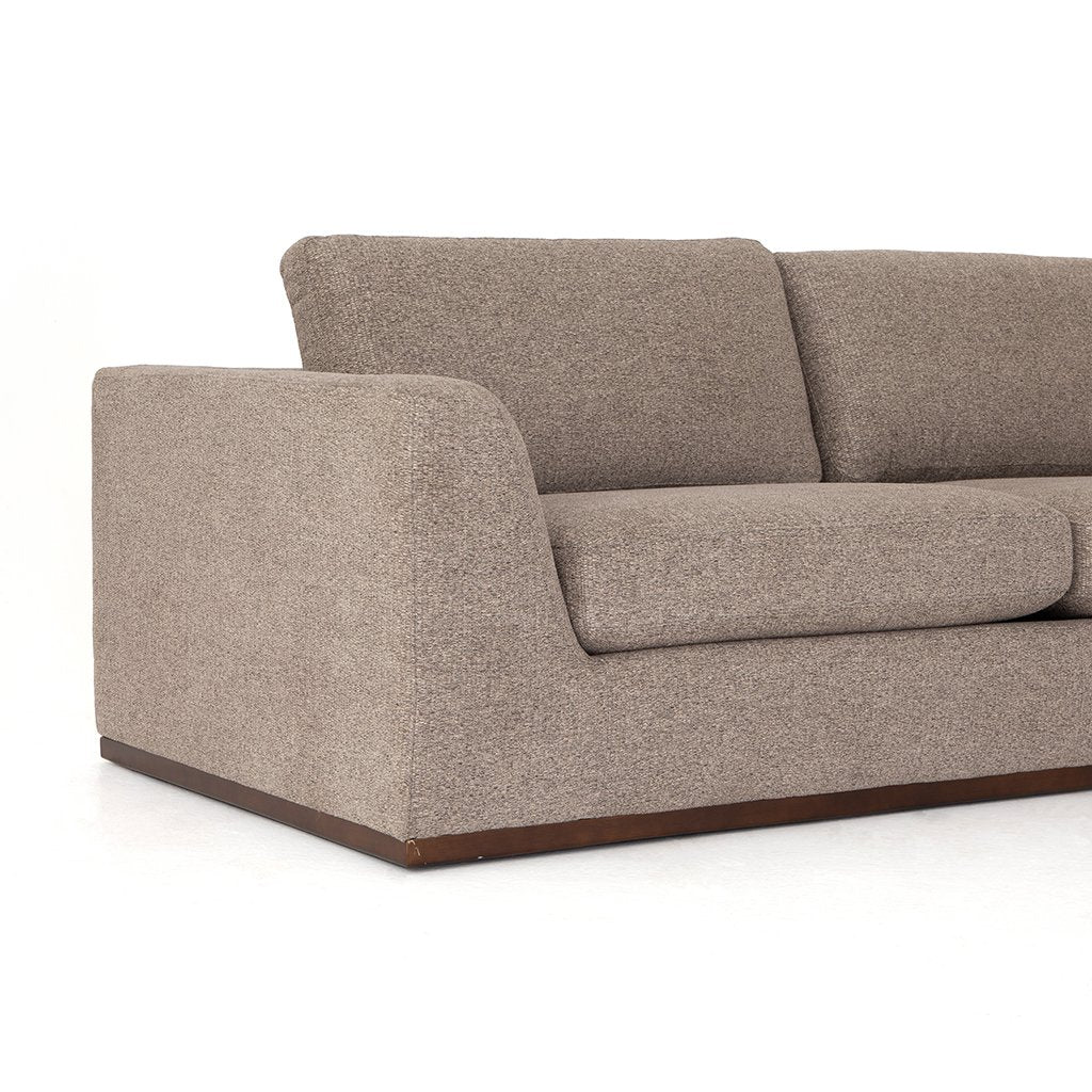 Colt Fabric Sectional Sofa - Gaston Pewter Arm View