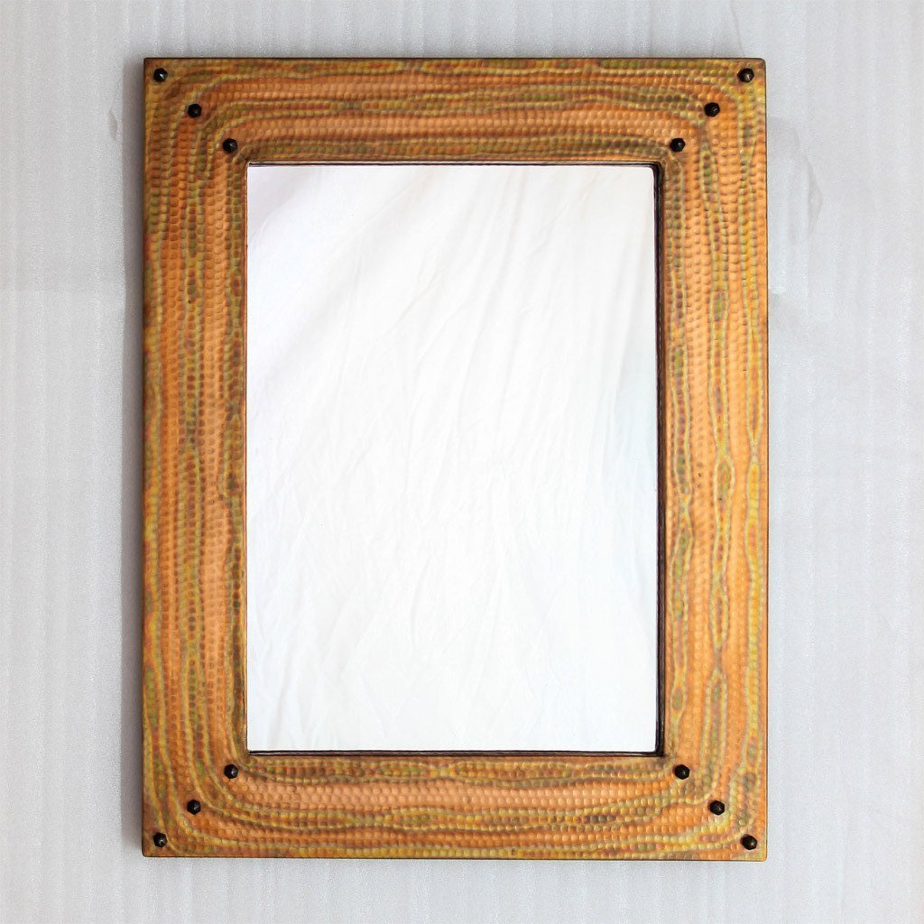Hammered copper bathroom mirror
