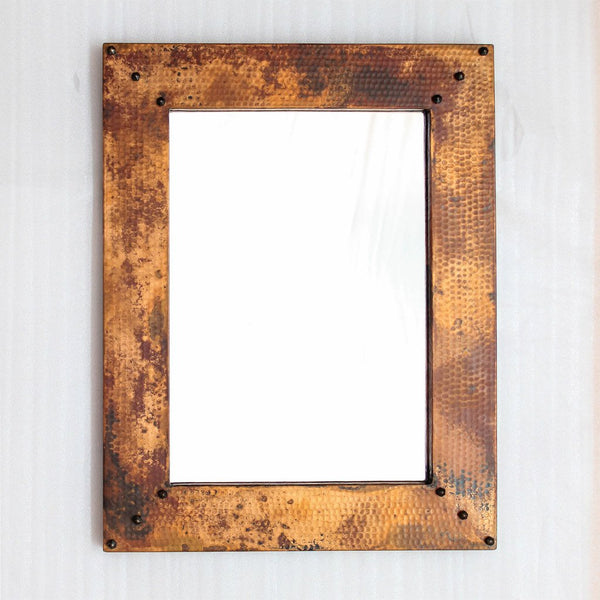 Copper Framed Mirror Hammered Texture Hand Crafted