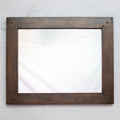 Hammered Copper Accent Mirror - Dark