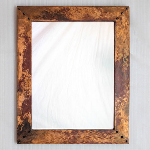 "Hammered copper accent mirror - 33"" x 27"""