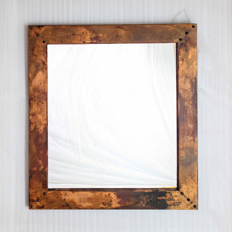 "Hammered copper entryway mirror - 34"" x 31"""