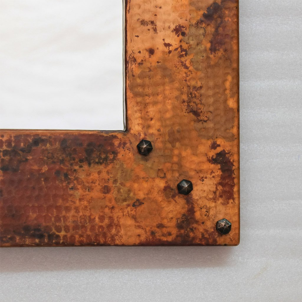 "Hammered copper entryway mirrors - 34"" x 31"""