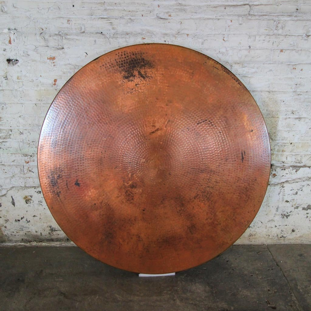 hammered copper top bar table