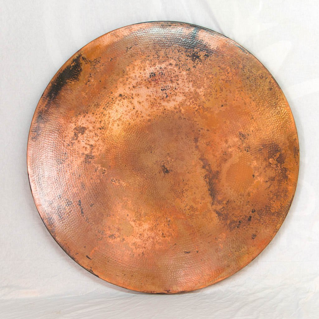 Round Hammered Copper Dining Table Top