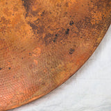 Round Hammered Copper Dining Table Top Detail