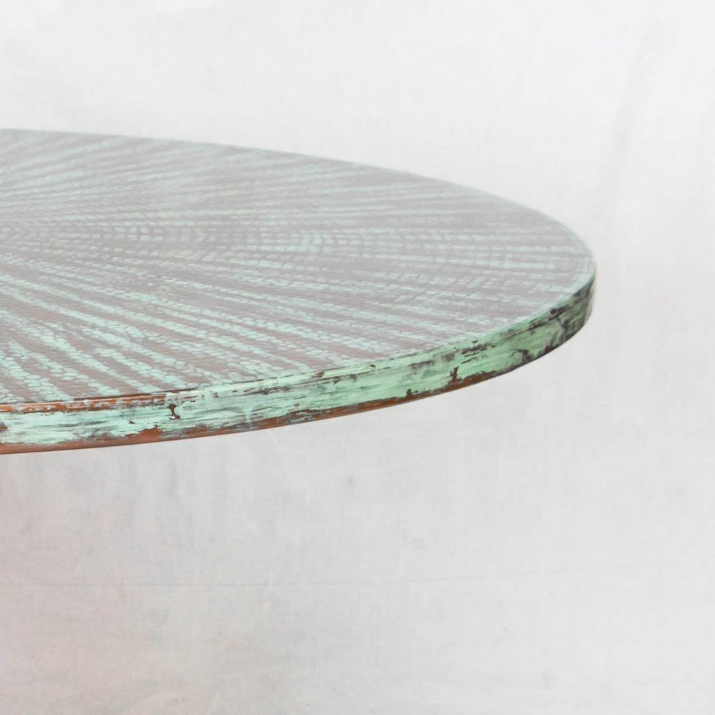 Copper and Green Dining Table Top Hammered Texture