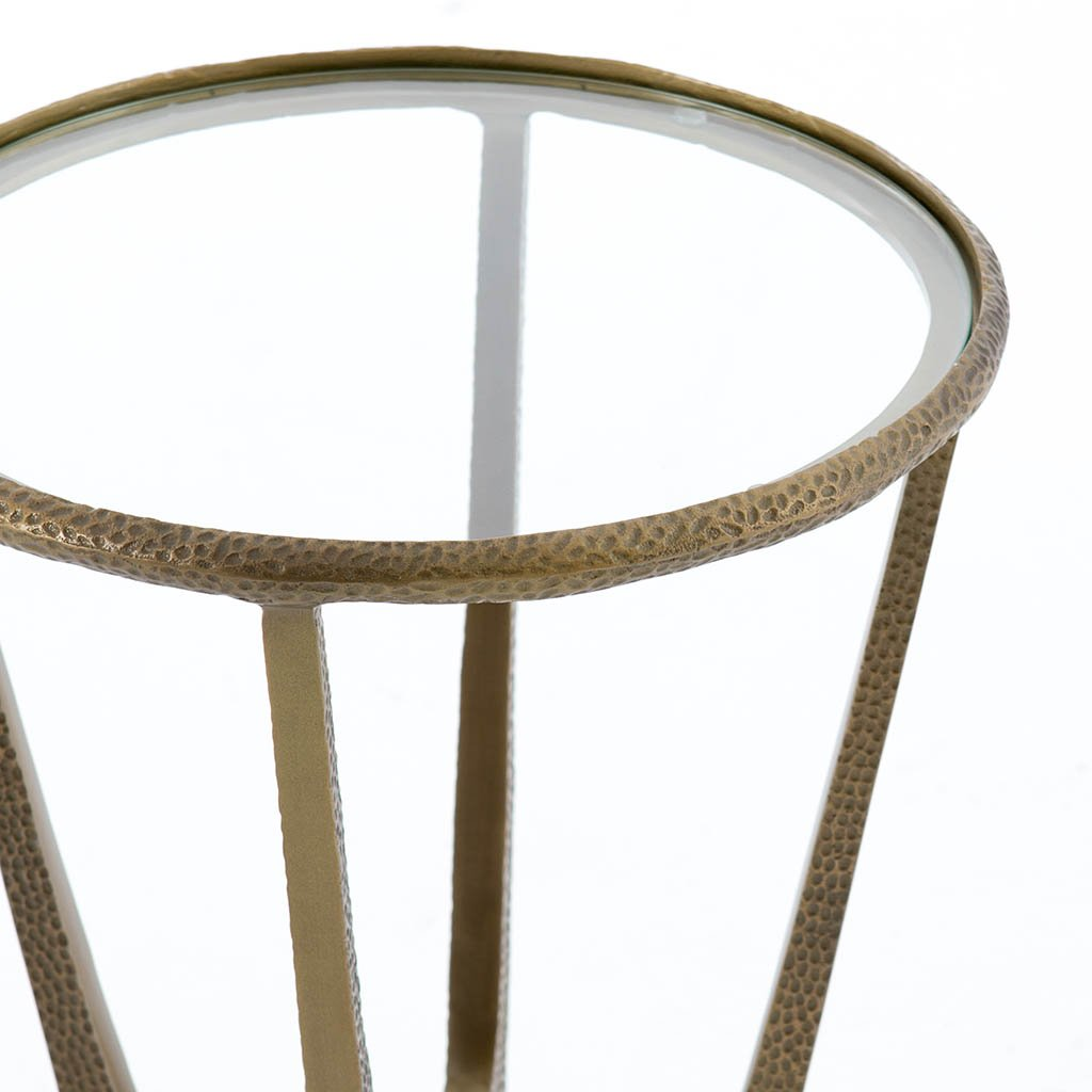 minimalist end table antique brass