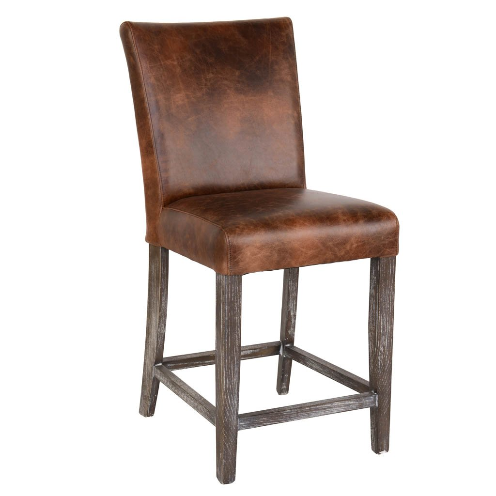 Decker Brown Leather Counter Chair