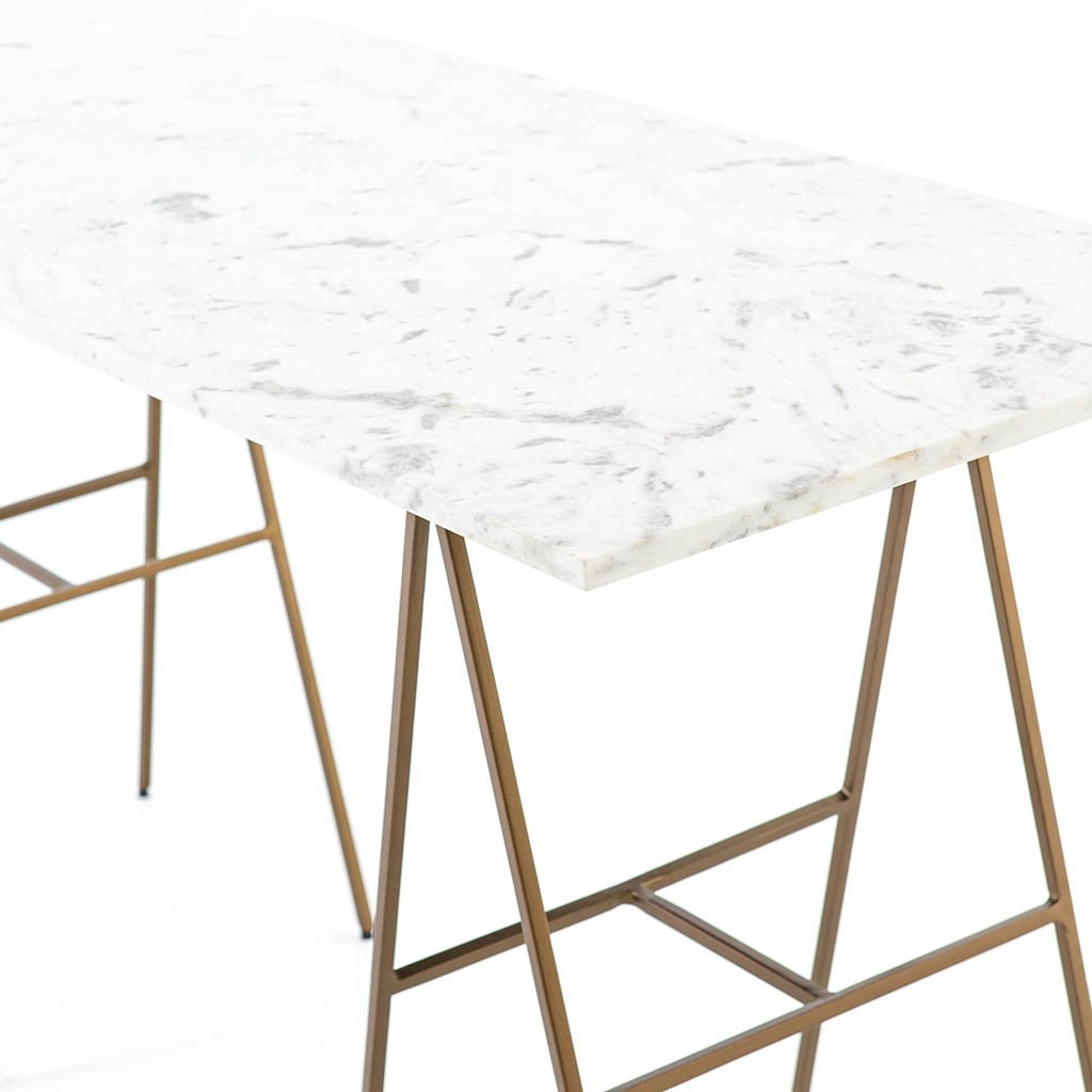 white marble brass leg desk