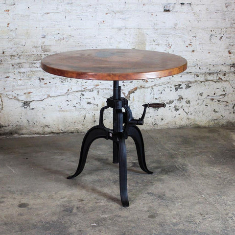 Edison crank copper bistro table