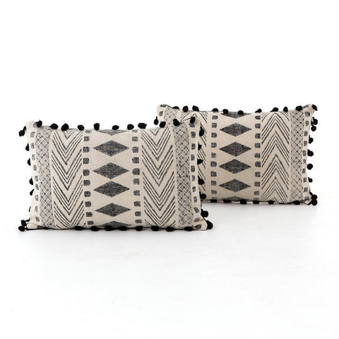 Faded Block Print Lumbar Pillow - Set of 2 Four Hands IWIL-017