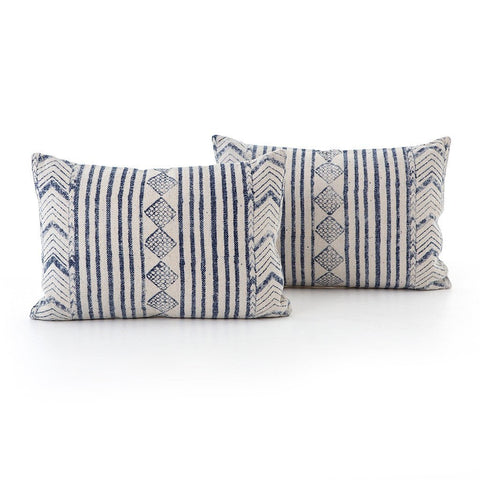 Faded Blue Diamond Lumbar Pillow - Set of 2 Four Hands IWIL-027